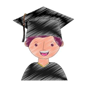 Garçon d'étudiant diplômé personnage d'avatar