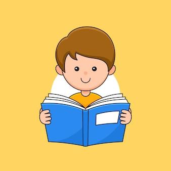 Garçon étudiant les enfants aiment lire l'illustration de style de dessin animé de contour de livre.