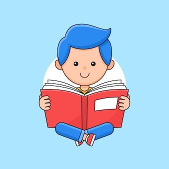 Garçon étudiant enfants assis les jambes croisées et profiter de la lecture de l'illustration de style de dessin animé de contour de livre.
