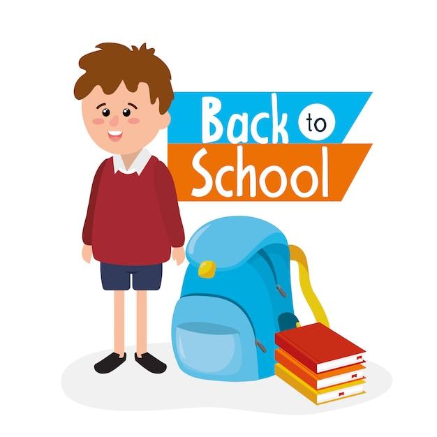 Garçon étudiant avec sac à dos et ustensiles de livres