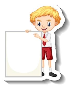 Garçon étudiant tenant un autocollant de dessin animé de tableau vide