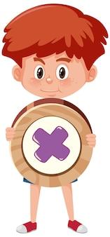 Garçon étudiant tenant un symbole mathématique de base ou un personnage de dessin animé de signe isolé sur fond blanc