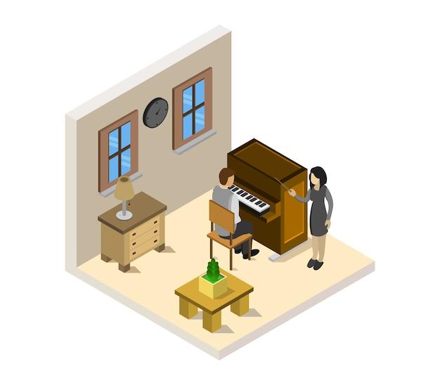 Garçon étudie le piano isométrique
