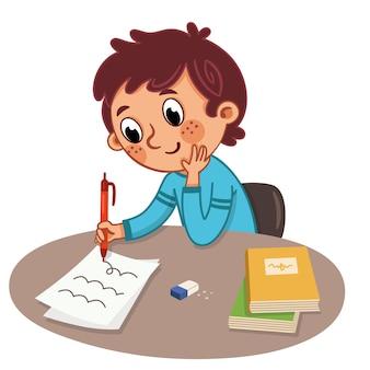 Un garçon étudie sur une table vector illustration