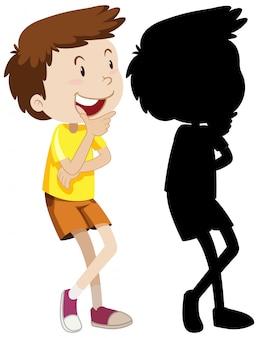 Garçon faisant face à la pensée en couleur et silhouette
