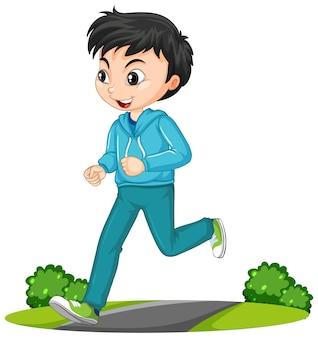 Garçon faisant le personnage de dessin animé exercice en cours d'exécution isolé