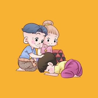 Garçon de famille dessin animé thaï