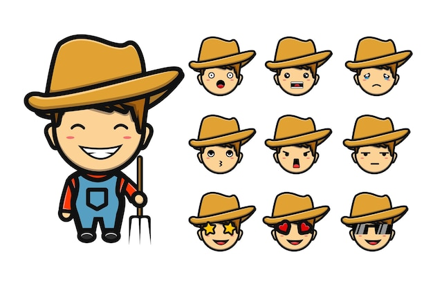 Garçon fermier mignon dans de nombreux jeux de dessins animés de mascotte d'expression