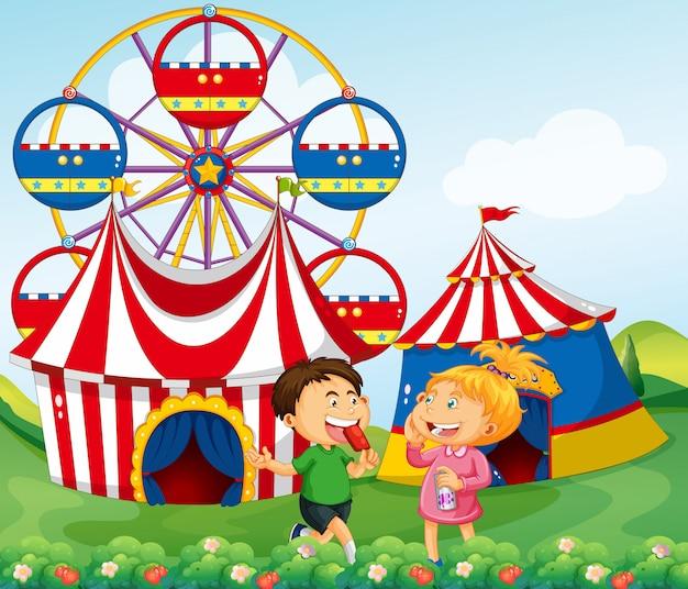 Garçon fille, apprécier, cirque, illustration