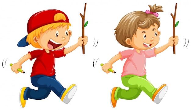 Garçon et fille avec un bâton en bois