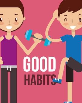Garçon et fille bonnes habitudes saines