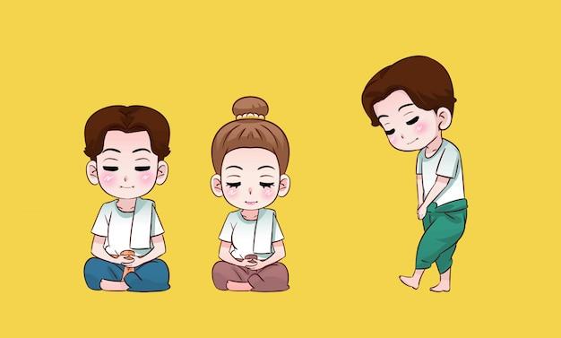 Garçon et fille bouddhiste méditant dessin animé thaïlandais