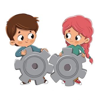 Garçon et fille collaborant ensemble