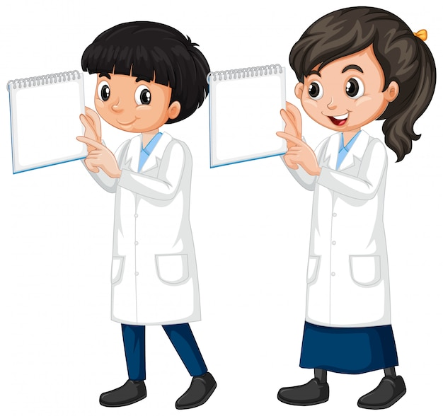 Garçon fille, dans, science, robe, debout, blanc