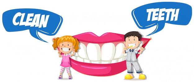 Garçon et fille avec des dents propres