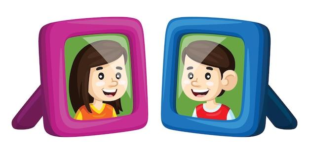 Garçon et fille de dessin animé mignon dans un cadre photo