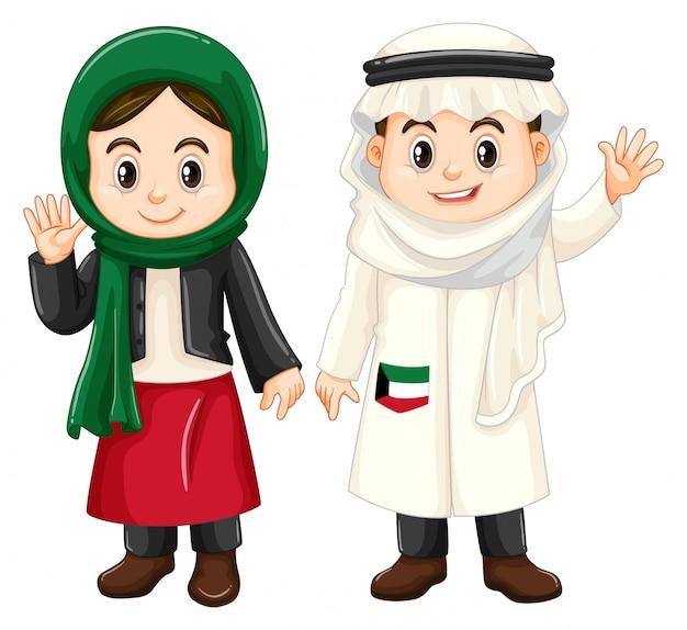 Garçon et fille du koweït agitant les mains