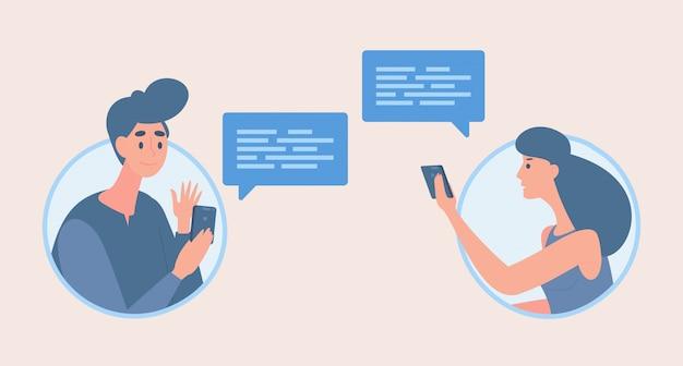 Garçon et fille échangeant des messages cartoon illustration. les gens parlent avec des bulles de communication.