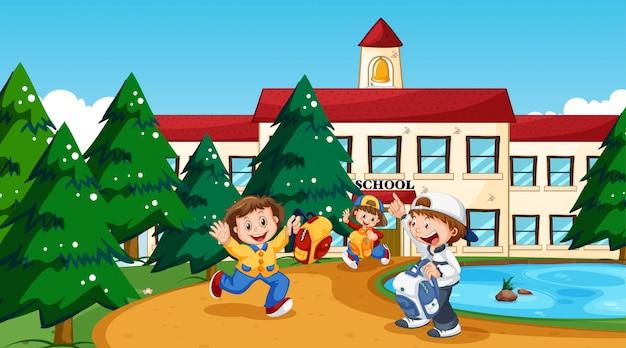 Garçon et fille à l'école