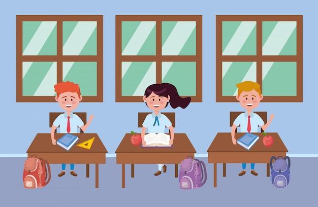 Garçon et fille enfant d'école