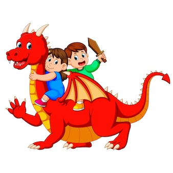 Garçon et la fille jouant avec le grand dragon rouge et le garçon tenant l'épée