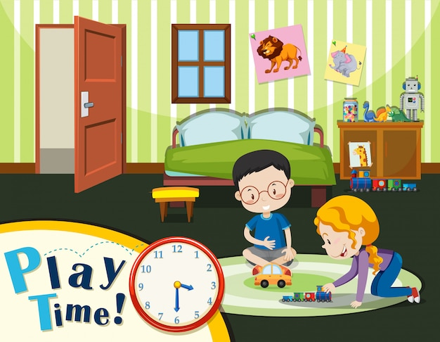 Garçon et fille jouant un jouet