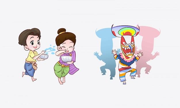 Garçon fille, jouer, dans, festival, thaï, dessin animé