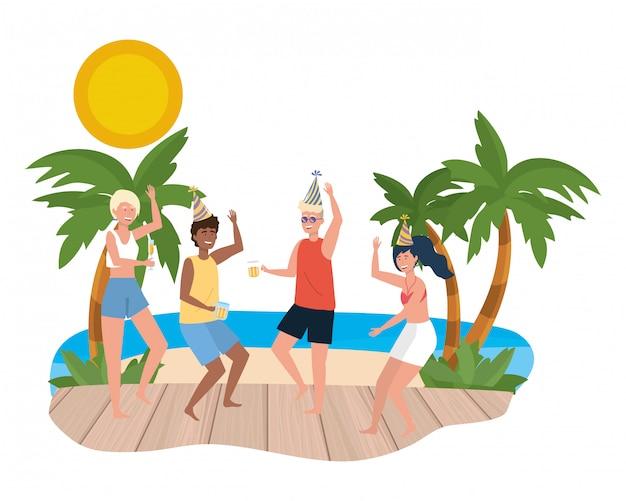 Garçon et fille avec des maillots de bain d'été