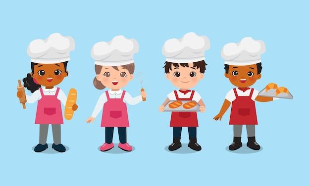 Garçon et fille mignons avec du pain fraîchement sorti du four boulangerie chef clip art conception de dessin animé de vecteur plat