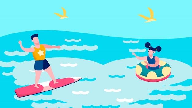 Garçon et fille nageant dans la mer illustration