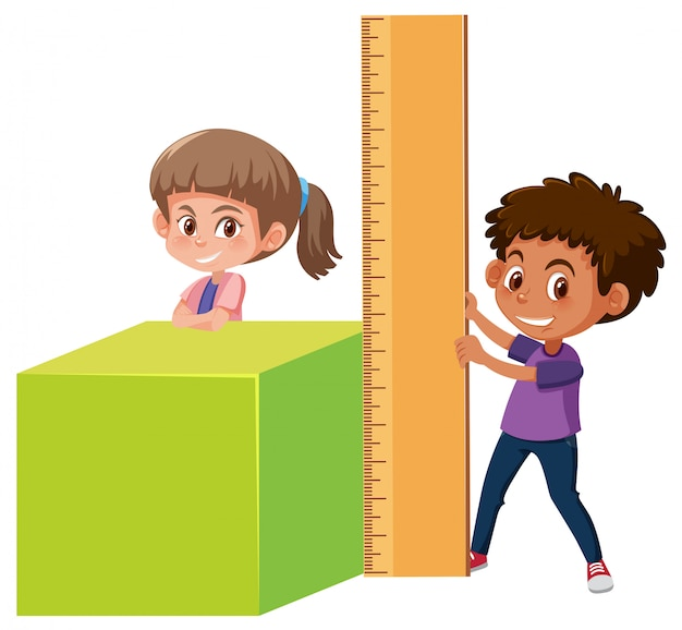 Garçon et fille avec des outils mathématiques