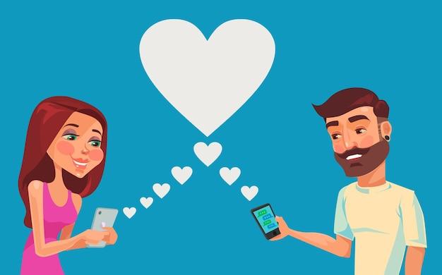 Garçon et fille parlant en ligne.