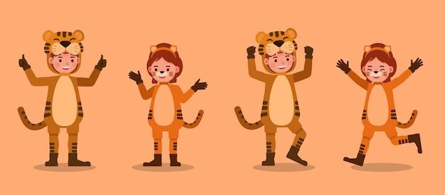 Garçon et fille portant des costumes de tigre. présentation en diverses actions avec émotions.