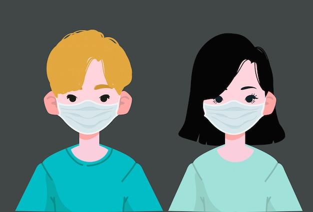 Garçon et fille portant un masque