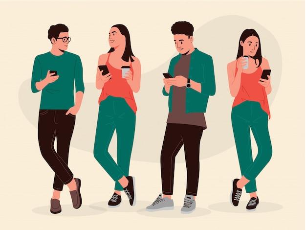Garçon et fille, regarder, téléphone, illustration