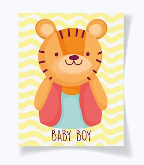 Garçon ou fille, le sexe révèle sa carte mignonne de tigre de garçon