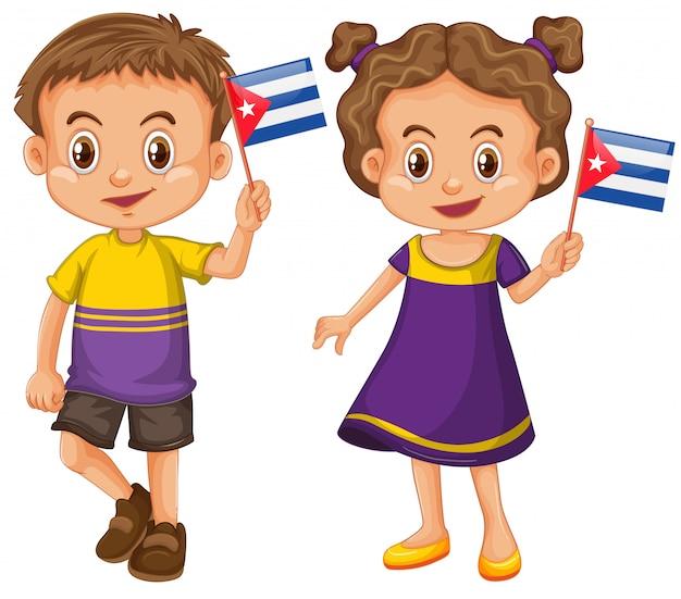 Garçon et fille tenant le drapeau de cuba