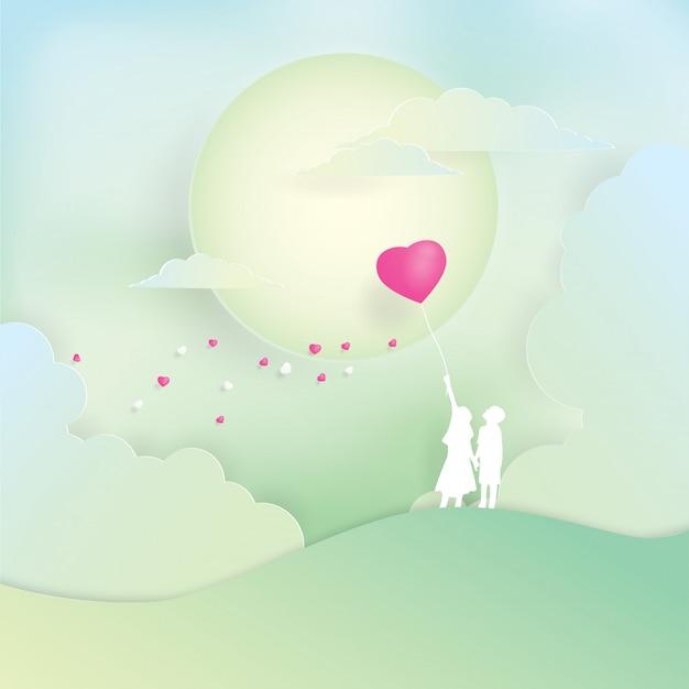 Garçon et fille tenant par la main et le cœur du ballon, art du papier, papier découpé, vecteur de l'artisanat, design