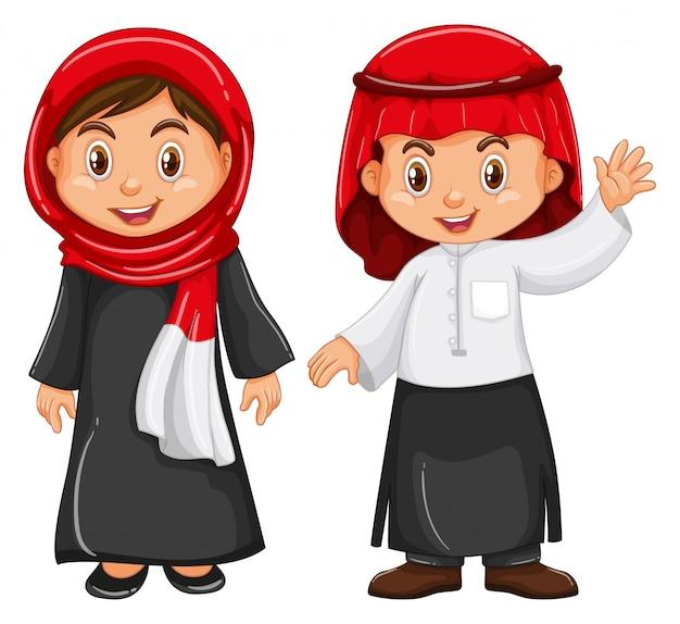 Garçon et fille en tenue d'irag
