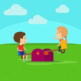 Garçon et fille sur le terrain de jeu