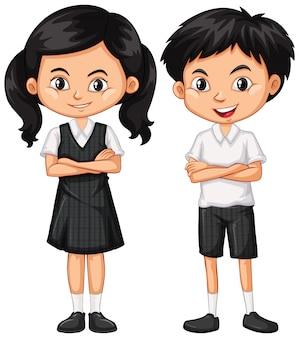 Garçon et fille en uniforme