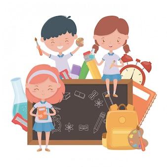 Garçon et filles enfant de la conception de l'école