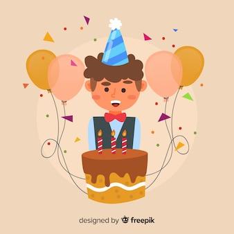 Garçon avec fond d'anniversaire de gâteau