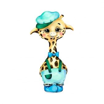 Garçon girafe dessin animé mignon aquarelle dans des vêtements verts