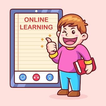 Garçon heureux avec dessin animé d'apprentissage en ligne