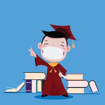 Garçon heureux d'obtenir son diplôme et livre
