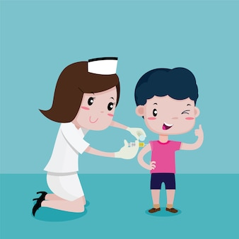 Garçon heureux pendant que les infirmières s'injectaient, dessin animé de vecteur