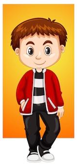 Garçon heureux en veste rouge
