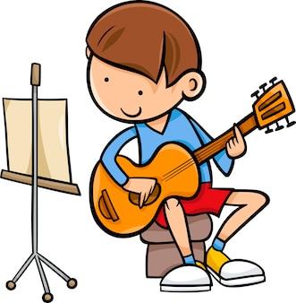 Garçon avec illustration de dessin animé de guitare