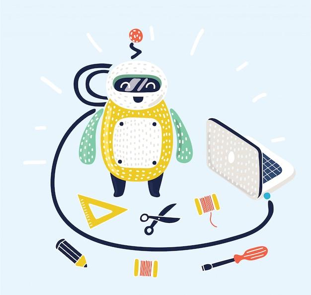 Garçon installant, configurant, programmant un robot humanoïde moderne connecté à un ordinateur portable. kid apprenant l'ingénierie expérimentant un projet d'éducation technologique. illustration isolée plate.